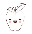 kawaii apple with stem and leaves in brown blurred vector image