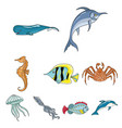 marine and river inhabitants fish whales vector image