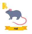 Rat R letter Cute children animal alphabet in vector image