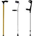 Set of orthopedic walking sticks on white backgrou vector image