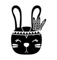 silhouette cute rabbit head animal with feathers vector image
