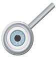 Eyeball in magnifying glass vector image