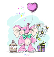 Elephant holding a balloon in the form of heart vector image