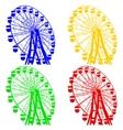 Silhouette atraktsion colorful ferris wheel vector image