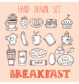 Collection of various sketches food and doodles vector image