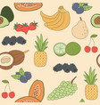 seamless pattern hand drawn fruits food vector image