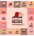 Template with different kinds of cake slices vector image