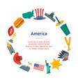 cartoon symbol of america banner card circle vector image