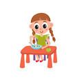 flat girl eats apple and porridge vector image