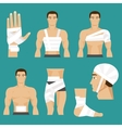 Medical set bandaged body parts vector image