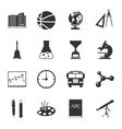 School black and white flat icons set vector image