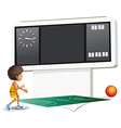 A boy playing basketball with a scoreboard vector image vector image