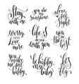 Set of black and white hand written lettering vector