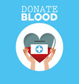 donate blood hand holds heart vector image