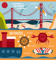 san francisco landmarks seafood and kite surfing vector image