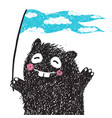 funny monster with flag greeting vector image