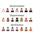 avatars characters set of different kind women vector image