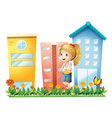 A girl in front of the buildings with a garden vector image