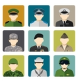 Military social network avatar icons set vector image