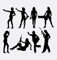 Girl and weapon sexy pose silhouette vector image