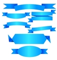 blue ribbon banner flat collection vector image