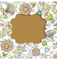 card frame with floral pattern doodle style vector image