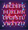 glowing neon red blue alphabet vector image