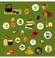 Green black and herbal tea flat icons vector image