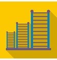 Gymnastics wall bars ladder icon flat style vector image