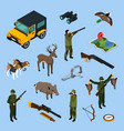 hunting isometric icon set vector image