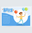 running little boy with colorful balloons vector image