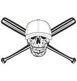 skull and crossed bat vector image