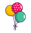 three colorful balloons icon cartoon style vector image