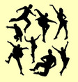 tap dance man and women silhouette vector image