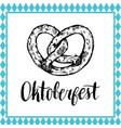 oktoberfest symbol beer festival sign with hand vector image