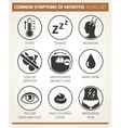 symptoms of hepatitis icon set vector image