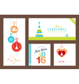 Set Flat Christmas New Years backgrounds vector image