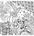 Bird of paradise in fantasy garden vector image