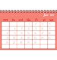 Desk calendar template for month June Week starts vector image