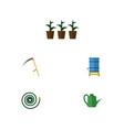 flat icon farm set of hosepipe flowerpot bailer vector image