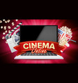 online cinema banner with laptop film vector image