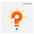 Pencil question mark on background vector image