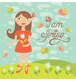 spring girl with birds vector image