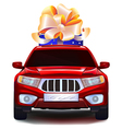Auto with a gift in the trunk vector image vector image