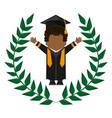 graduate student gown hat funny emblem vector image