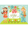 spring girls vector image vector image