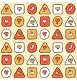 pattern with hearts and figures on a beige vector image