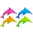 Four dolphins vector image