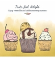 Card template with cupcakes vector image