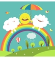 Rainbow cloud and happy sun in the sky vector image